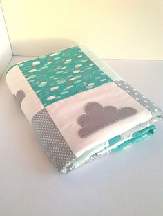 Little Cloud Cot Quilt Set in teal mint and grey