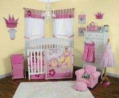 Storybook Princess Crib Bedding  Immerse your nursery into a fairytale with   this dream-like scene showcasing a pretty little   princess in her horse drawn carriage along with   her royal castle and a kissable frog. Elegant   tonal scrolling damask, floral and dot prints are   mixed with a fun princess scatter print   featuring crowns, mirrors, clocks, butterflies   and stars in a gorgeous color palette of
