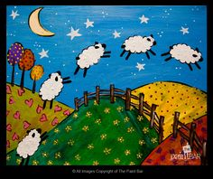Counting Sheep Painting (perfect for a child's room) count sheep, counting sheep, sheep painting