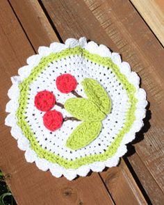 Sugar'n Cream - Cherry Dishcloth - free crochet pattern