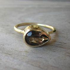 14k Gold and Smoky Sideswept Ring. $518.00, via Etsy.