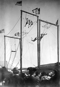 Outdoor trapeze show at the Dunn County Fair, c.1910s.