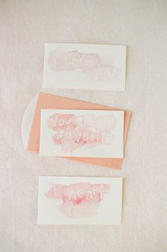 Cute watercolor Valentine Day card idea — use a white crayon to write your message first