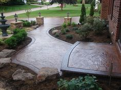 Textured, Walkway, Brown, Landscaping Concrete Floors J Concrete Uniontown, OH