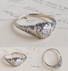 """Tschichold"" White Gold Filigree Engagement Ring. $850"