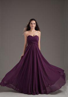Vestido para Damas de Honor simples sem alças cintura flexível e saia ondulada tecido de chiffon