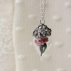 Terrarium Necklace Pink Dahlia