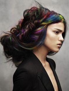 angelo seminara, hair colors, colorful hair, rainbow hair, braid, rainbows, hair highlights, big hair, hairstyl