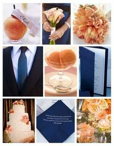 Another peach and navy wedding inspiration board