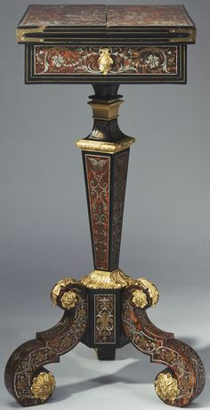 In The Royal Collection  Attributed to André-Charles Boulle (1642-1732) (furniture maker) Creation Date: c.1680 Materials:  Oak, ebony, tortoiseshell, pewter, brass, gilt bronze