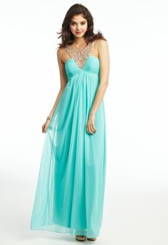 Mesh Illusion Beaded Prom Dress from Camille La Vie and Group USA