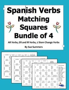 Spanish Verbs Matching Squares / Magic Squares Puzzle Bundle of 4 by Sue Summers - Includes AR, ER and IR, O - UE, E - I and E - IE stem change verbs.