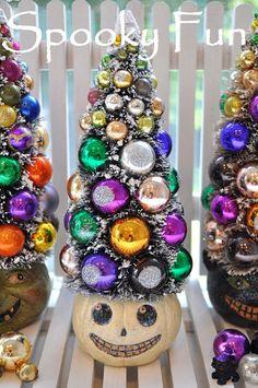 Pumpkin HalloWeeN Bottle Brush Tree glass ornaments by RuinBibber, $44.50