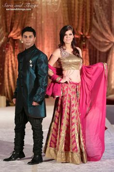 Saris and Things teal sherwani raspberry pink gold lengha