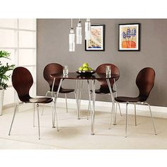 Shell Bentwood 5 Piece Dining Set, Espresso