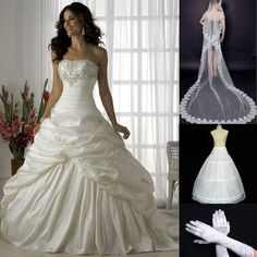 Ivory Wedding dresses Bridal gowns Embroidery Wrinkle Size 6 8 10 12 14 16