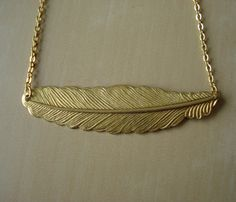 Brass Feather Necklace.