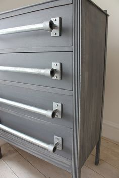 Refurbished Vintage Grey Chest of Drawers with by inspiritdeco - Made with Kee Klamp Fittings