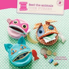 animal coin purses?  super cute!  love the zipper pull decorations too!