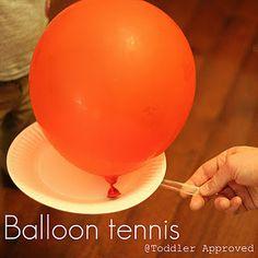 balloon tennis- perfect for winter indoor fun