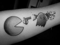 pacman tattoo, bodi art, pac man, white tattoos, bangs, game, black, incredible tattoos, ink