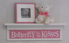 "Butterfly Kisses on 24"" Shelf Linen White and Pink Children Wall Art Butterflies Nursery Decor. $40.00, via Etsy."