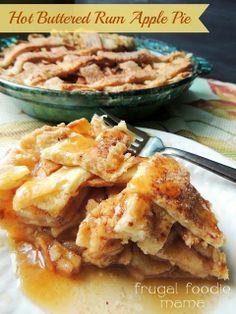 Hot Buttered Rum Apple Pie via thefrugalfoodiemama.com