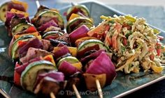 Portabello Kebabs with Asian Slaw