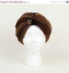 ON SALE Vintage Turban Hat // Brown Ombre by independencevintage, $25.50