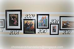"Hallway of family photos ""through the years"""
