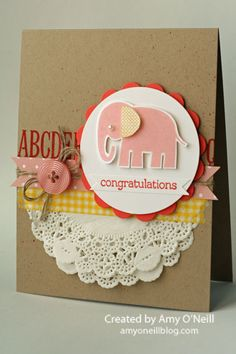 Pink Baby card // Stampin Up 'Zoo Babies' elephant stamp // kraft, yellow, white  pink  Stampin' Up!