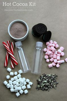 Hot Cocoa Kit Ingredients to fill bottles