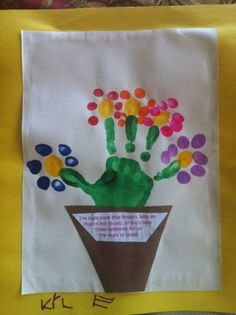 mothers day ideas, flower crafts, hand prints, mother day gifts, flower pots