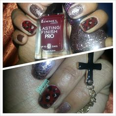 Burgundy & champagne some glitter and leopard print.