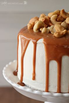 Vanilla Malt Layer Cake with Cashews and Salted Caramel salt caramel, vanilla cake, malt cake, malt layer, layer cakes, caramel recipes, vanilla malt, salted butter caramel cake, birthday cakes