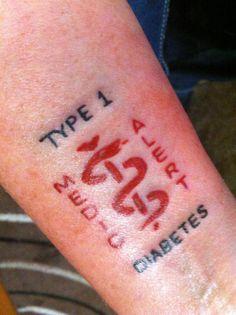 Medical id tattoos on pinterest type 1 diabetes type 1 for Type 2 diabetes tattoo