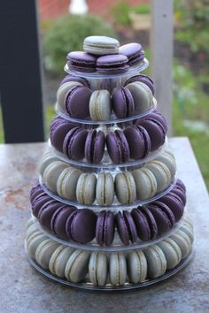 Purple and White Macaron Tower - Beautiful for a Wedding