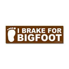 bumper stickers, bigfoot green, green sticker, black sticker, bigfoot comedy