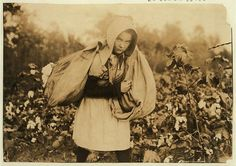 """Callie Campbell, 11 years old, picks 75 to 125 pounds of cotton a day, and totes 50 pounds of it when sack gets full. """"No, I don't like it very much."""" Location: Potawotamie County, Oklahoma.- Heart-Breaking Pictures of Child Labour In USA by Lewis Hine. This photo series, archived by the Library of Congress, shows what conditions were like for child laborers before child labor was largely eliminated in 1938."""