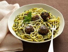 Pasta With Green Meatballs and Herb Sauce by Mark Bittman, NYTimes: Seasoned with basil, parsley and chives! http://tinyurl.com/3fqy8ox #Mark_Bottman #Pasta #NYTimes