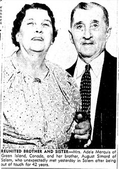 """A photo of Adele Marquis and her brother August Simard, published in the Boston Herald (Boston, Massachusetts), 9 August 1939. Read more on the GenealogyBank blog: """"'Ah-Ha!' Moment: GenealogyBank Member's Favorite Family Find."""" http://blog.genealogybank.com/ah-ha-moment-genealogybank-members-favorite-family-find.html"""