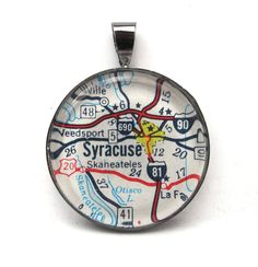 Vintage Map Pendant of Syracuse, New York, in Glass Tile Circle souvenir idea, craft, style, homes, jewelri