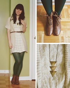 cream lace, urban outfitters, necklac, inspired outfits, brown boots, tight lace dress, lace dresses, belts, green tights outfit