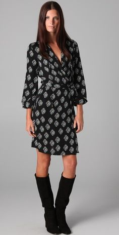 DVF- Nove Wrap Dress...really loving wrap dresses and boots for Fall.