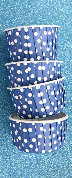 Candy Cups in Dark Lavender/ Blue Polka Dots