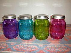New Multicolor Glass Mason Jar 20oz Mugs Set of 4 Glasses with Lids Drinkware B | eBay