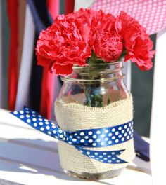 Mason jar decorations at a Memorial Day Party!  See more party ideas at CatchMyParty.com!