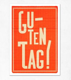 GUTEN TAG!!!!! Extra Large illustration print 16.50 x 23.4 (A2). Big Poster in german.. €19,00, via Etsy.