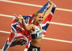 Jessica Ennis celebrates her Olympic heptathlon gold medal win at the London 2012 Games. Photo: EMPICS