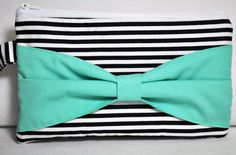 Clutch with Navy Stripe with Aqua Bow Nautical by ChickSprings, $25.00